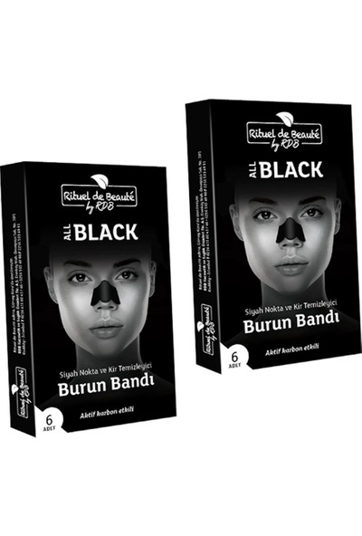 Rituel de Beaute Black Aktif Karbon Siyah Nokta ve Kir Temizleyici 2 Kutu 12 Adet Burun Bandı