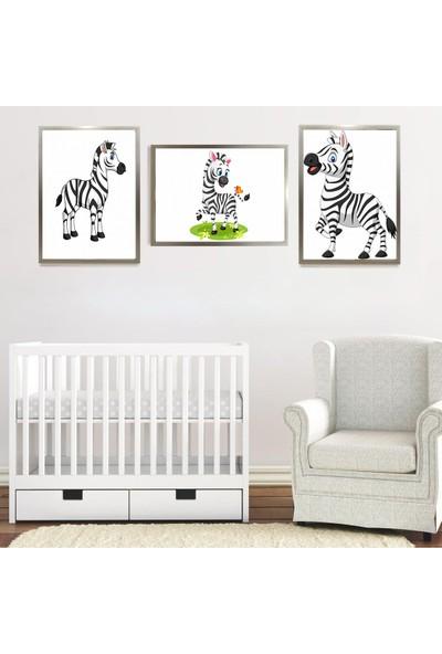 """Zeys Art Home Çocuklara Özel Zebra Figürlü """"çerçeveli Tablo Seti"""""""