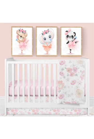 """Zeys Art Home Kızlara Özel Fil, Panda, ,ayı Desenli Balerin Hayvanlar """"çerçeveli Tablo Seti"""""""