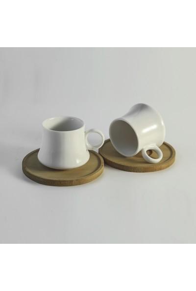 Dolmabahçe Ekru İkili Kahve Fincanı Takımı