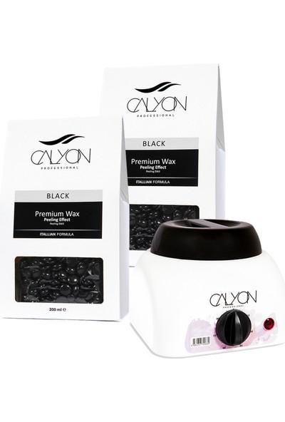 Calyon 2 Adet Siyah Peeling Etkili Soyulabilir Inci Boncuk AĞDA+800 ml Ağda Makinesi