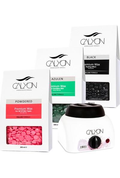 Calyon 1 Adet Pudralı+1 Adet Azulen+1 Adet Siyah Peeling Etkili Soyulabilir Inci Boncuk Ağda+Makine