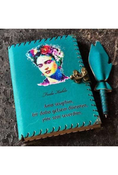 Hediyesec Frida Kahlo Tasarımlı Deri Defter