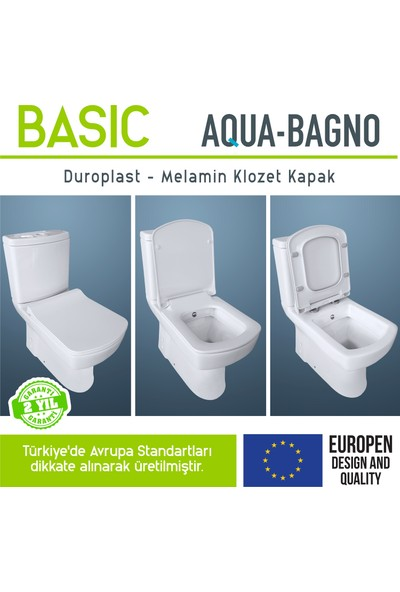 Aqua Bagno -Basıc Yavaş Kapanan Klozet Kapağı