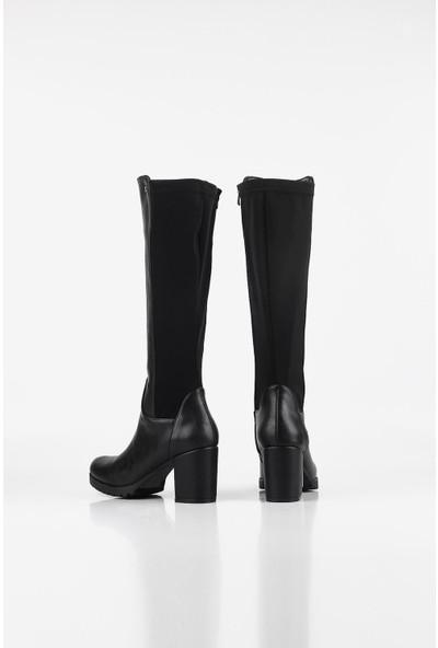 Gökhan Talay Rahat Taban Alçak Topuklu Siyah Kadın Çizme