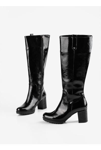 Gökhan Talay Siyah Rugan Topuklu Kadın Çizme