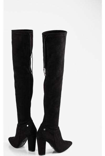 Gökhan Talay Siyah Sivri Burun Diz Üstü Çorap Çizme