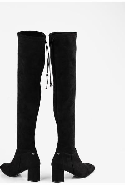 Gökhan Talay Siyah Süet Diz Üstü Çorap Çizme