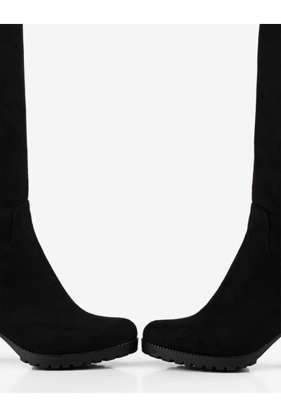 Gökhan Talay Siyah Süet Topuklu Kadın Çizme
