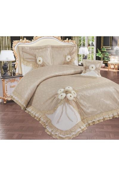 Köşem Çeyiz Si.bella Home Lotus Çift Kişilik Yatak Örtüsü Takımı Cappucino