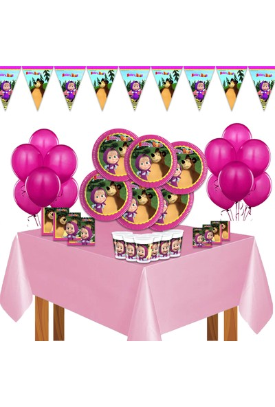 Bay Cimri Maşa Ile Koca Ayı Maşa Doğum Günü Parti Süsleri Seti