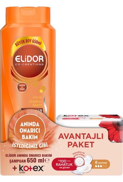 Elidor Anında Onarıcı Bakım Saç Bakım Şampuanı 650 ML + Kotex Ultra Normal 8'li 2'li Set