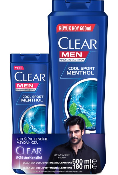 Clear Men Cool Sport Menthol Şampuan 600 ML + Clear Men Cool Sport Menthol Şampuan 180 ML 2'li Set