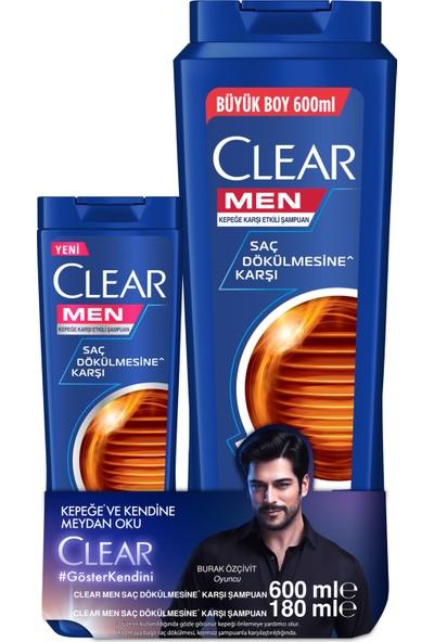 Clear Men Saç Dökülmesine Karşı Şampuan 600 ML + Clear Men Saç Dökülmesine Karşı Şampuan 180 ML 2'li Set
