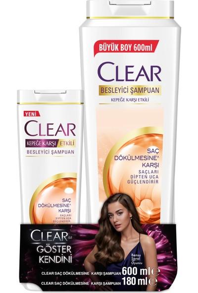 Clear Saç Dökülmesine Karşı Etkili Şampuan 600 ML + Clear Saç Dökülmesi Karşı Etkili Şampuan 180 ML 2'li Set
