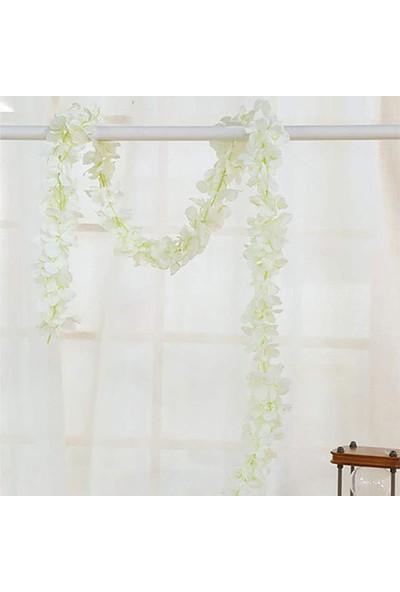 Nettenevime Yapay Çiçek Dolanan Sarkan Ortanca Çiçekli 100 cm Beyaz