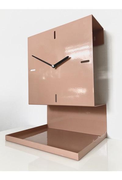 Kronos Raflı Masa ve Duvar Saati (Beıge Red)