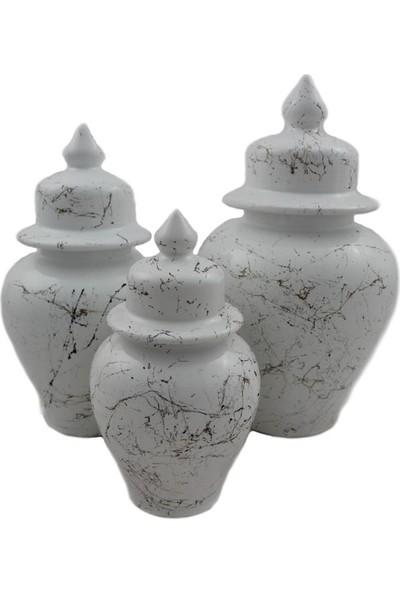 Şura Home Şah Küp Beyaz Mermer Desen 3 Boy Dekoratif Vazo