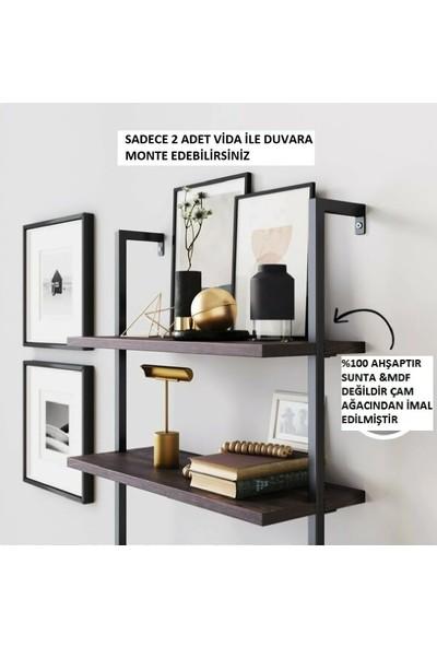 Plus Aksesuar Ahşap Dekoratif Tasarım 6 Raflı Duvara Monte Duvar Rafı Kitaplık Aksesuar Rafı