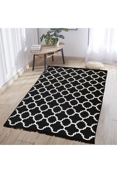 MarkaEv Cotton Siyah Beyaz Çift Taraflı Kilim 60 x 120 cm