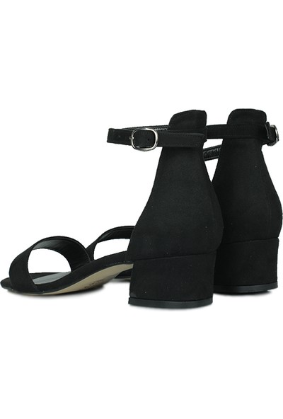 Loggalin 520033 008 Kadın Siyah Süet Topuklu Büyük & Küçük Numara Ayakkabı