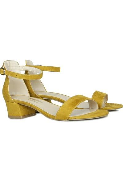Loggalin 520033 127 Kadın Hardal Süet Topuklu Büyük & Küçük Numara Ayakkabı