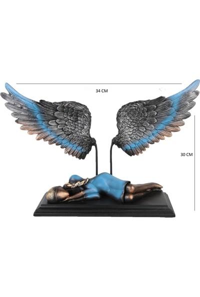 Gift Garden Dekoratif Melek Uyuyan Güzel Figürü Mavi