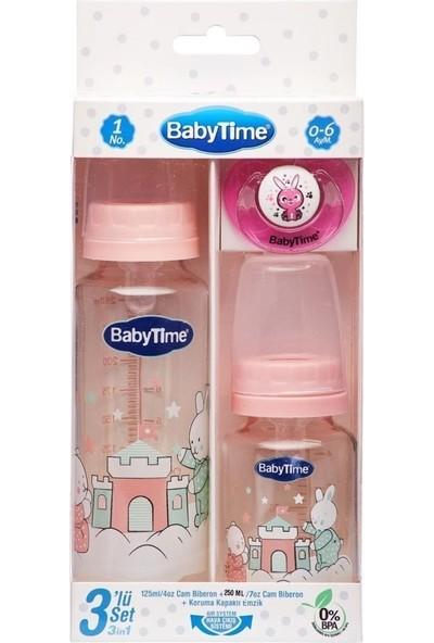 Baby Time BT207 3lü Cam Biberon Seti 0-6 Ay - Pembe