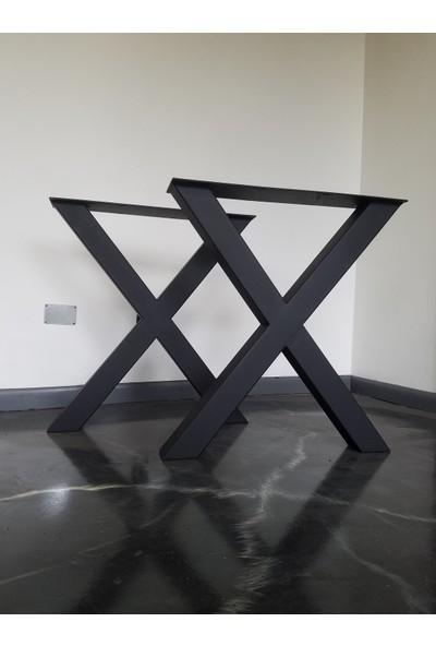 Merzana 70*70 cm Metal Masa Ayağı, Ahşap Kütük Masif Mermer Masa Ayakları