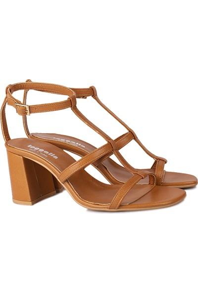 Loggalin 112151 160 Kadın Taba Deri Topuklu Büyük & Küçük Numara Sandalet