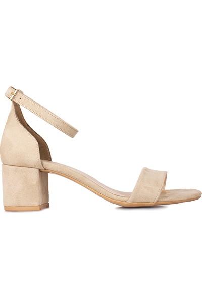 Loggalin 111272 327 Kadın Ten Süet Topuklu Sandalet