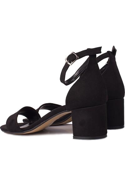 Loggalin 111272 008 Kadın Siyah Süet Topuklu Büyük & Küçük Numara Sandalet