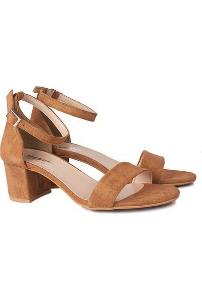 Loggalin 111272 167 Kadın Taba Süet Topuklu Büyük & Küçük Numara Sandalet