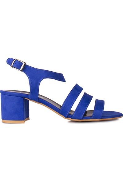 Loggalin 111141 427 Kadın Saks Topuklu Büyük & Küçük Numara Sandalet