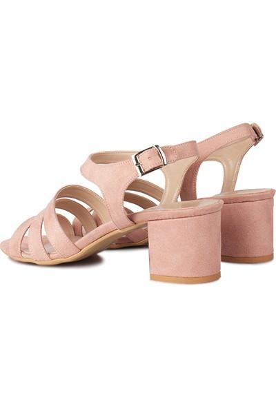Loggalin 111141 727 Kadın Pudra Topuklu Büyük & Küçük Numara Sandalet