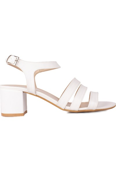 Loggalin 111141 468 Kadın Beyaz Topuklu Büyük & Küçük Numara Sandalet