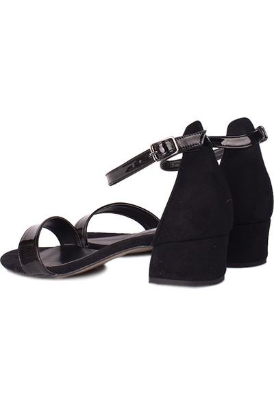 Loggalin 520033 020 Kadın Siyah Rugan Topuklu Büyük & Küçük Numara Ayakkabı