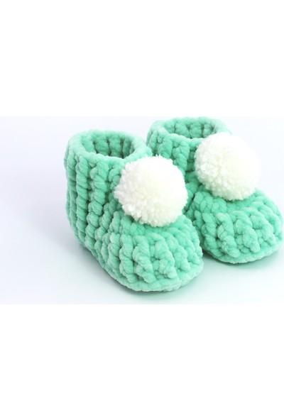 Bade Tasarım Mint Yeşili Pon Ponlu El Örgüsü Bebek Panduf