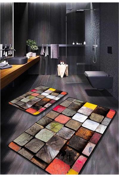 Evimod Renkli Ahşap Görünümlü Modern Yıkanabilir 2'li Banyo Halısı Paspas