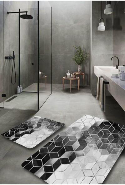 Evimod Silver Modern Yıkanabilir 2'li Banyo Halısı Paspas Klozet Takımı