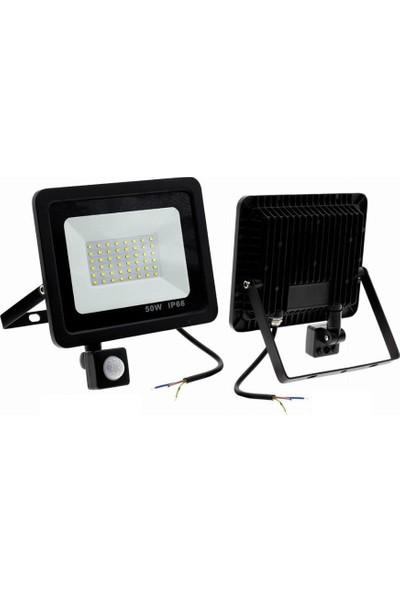 50 W Sensörlü LED Projektör Beyaz-Gece Gündüz Ayarlı(Su Geçirmez)