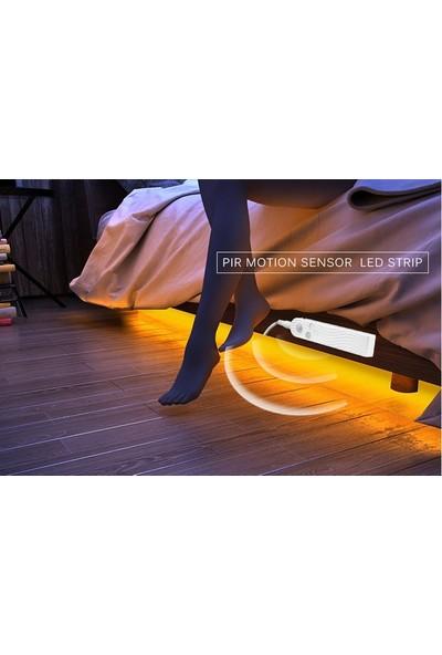 Hareket Sensörlü Şerit Led-Yatak Altı Dolap Içi Aydınlatma Gün Işığı