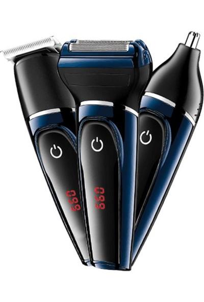 Yopigo Pro Model 565 Lcd Saç Sakal Burun Tıraş Makinesi 3in1 Erkek Bakım Seti