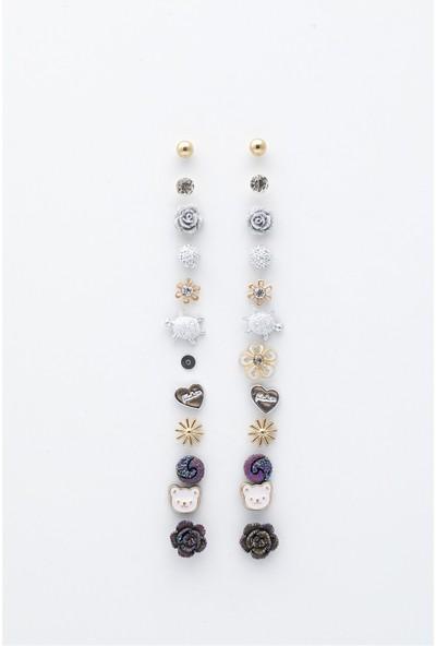 Sortie Accessories 12'li Yıllık Çoklu Küpe 004 Çok Renkli