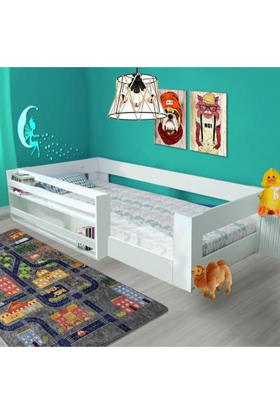 Brady Mobilya Montessori Beyaz Kitaplıklı Çocuk Karyolası