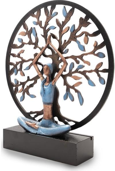 Gift Garden Yoga Yapan Kadın Hayat Ağacı Büyük Mavi