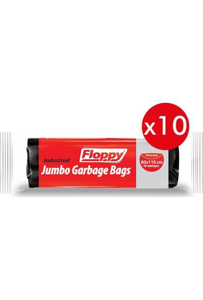 Floppy Endüstriyel Jumbo Boy Çöp Torbası Siyah 80X110 cm 10'lu 400 gr 10 Adet