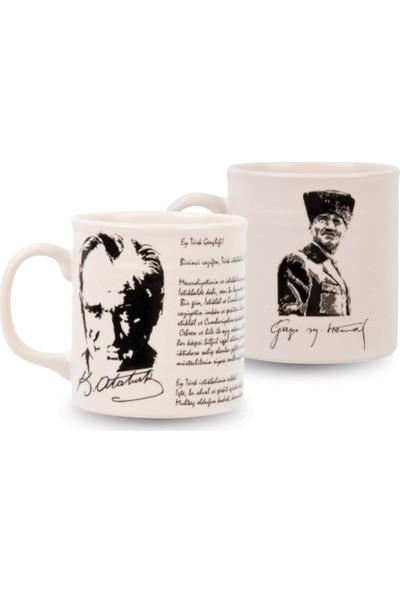 Keramika Atatürk Baskılı Seramik Kupa 2'li Set