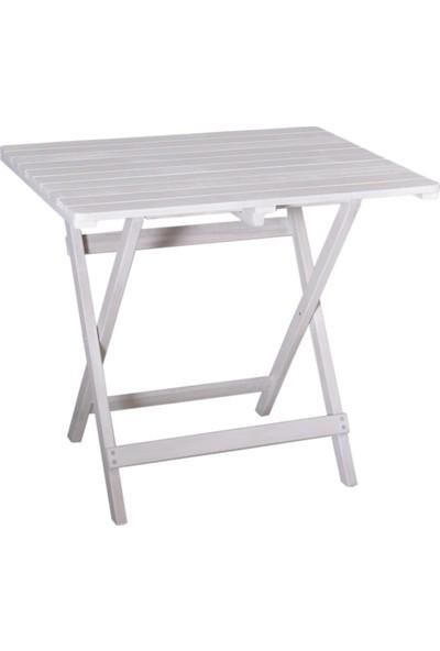 Özdağ Mobilya Gürgen Katlanır Beyaz Renk 60x80 Piknik Masa