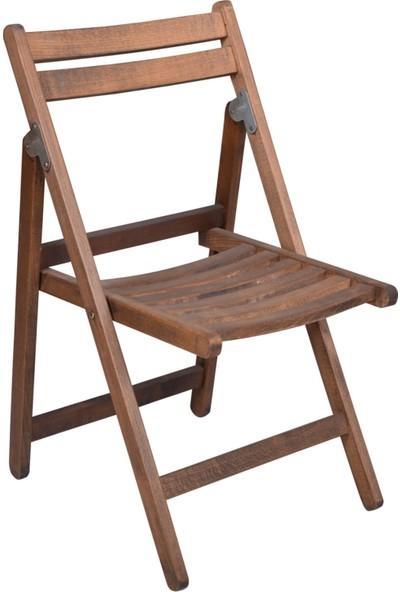 Özdağ Mobilya Gürgen Katlanır Ceviz Renk Dalyan Sandalye